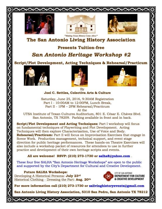 San Antonio Heritage Workshop No. 2 Flier with Joel  Settles Draft #2